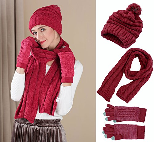 Knit Hat/Scarf/Gloves Set, Women Men Unisex Cable Knit Winter Cold Weather Gift Set