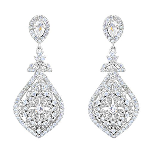 EVER FAITH 925 Sterling Silver Cubic Zirconia Gatsby Inspired Chandelier Teardrop Earrings Clear