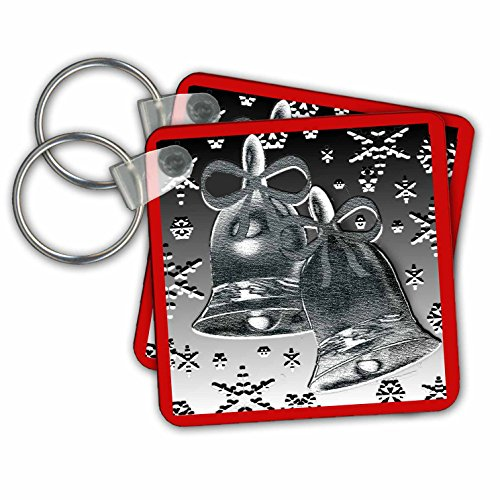 phy and Designs-Holidays - Silver Bell design with red border and snowflakes - Key Chains - set of 6 Key Chains (kc_269605_3) (Snowflake Design Key Ring)