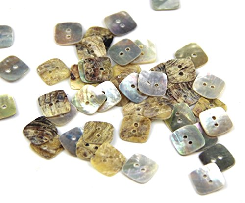 Pack of 12mm 2 Holes Square Shaped Mother of Pearl Shell Sewing Crafting Scarpbooking DIY Buttons Approx 50pcs (Mother Of Pearl Buttons)