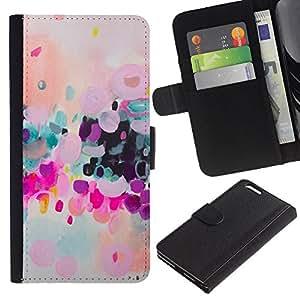 Colorido Moderno púrpura Arte- la tarjeta de Crédito Slots PU Funda de cuero Monedero caso cubierta de piel Para Apple (5.5 inches!!!) iPhone 6+ Plus / 6S+ Plus
