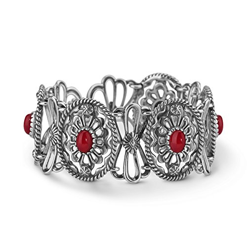 (American West Sterling Silver Red Coral Gemstone Concho Link Bracelet Size Medium)