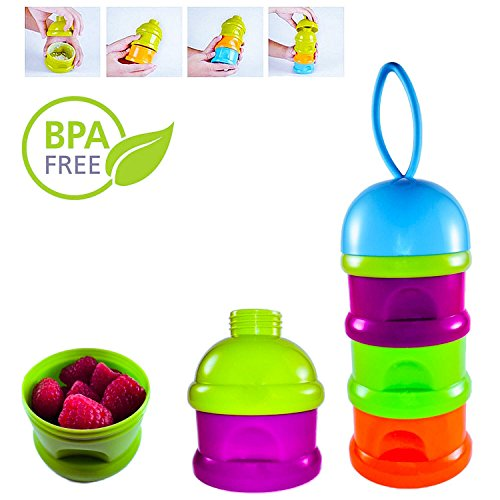 Baby Food Storage System - BPA Free Containers With Top Tier Stacking Infant Formula Dispenser – Best For Keeping Snacks Fresh (Blue)