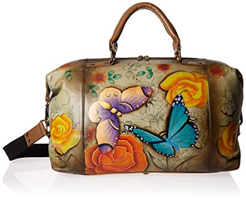 Anna by Anuschka Women's Genuine Leather Medium Shoulder Hobo | Hand Painted Original Artwork | Floral Paradise Tan, One Size