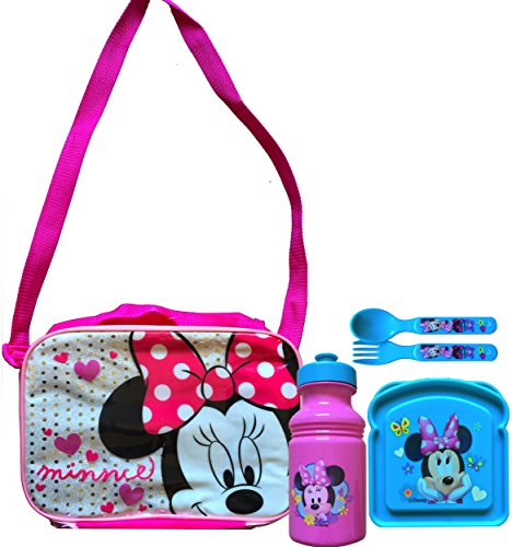 Minnie Mouse Lunch Box Adjustable Shoulder Carry with Minnie Mouse Pull-top Water Bottle Minnie Mouse Sandwich Container with Utensils Back to School Lunch Gift -