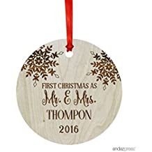 Andaz Press Personalized Laser Engraved Wood Christmas Ornament with Gift Bag, First Christmas as Mr. & Mrs. 2018, Round, Snowflake, Custom Name, 1-Pack, Bride Groom Wedding Gift Ideas