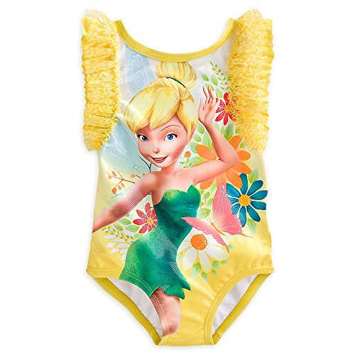 Disney Store Tinker Bell One-Piece Swimsuit Yellow Girls 7/8 (Tinkerbell Bathing Suit)