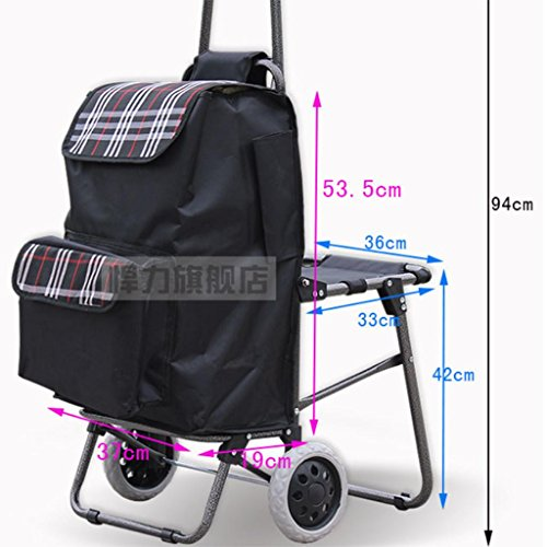 Shopping cart - large heavy truck, folding portable seat - luggage cart , rounds: black bottom c (send stretch rope) by moxin (Image #5)