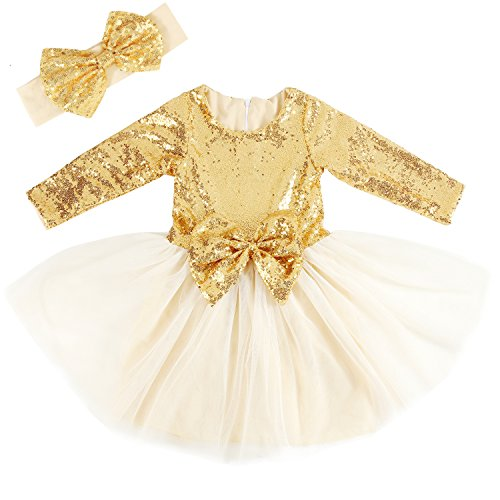 Cilucu Flower Girls Dresses Toddlers Birthday Party Princess Dress Sequin Tutu Prom Gown with Long Sleeve Gold 6-12months