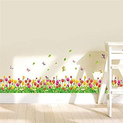 FairyTeller Colorful Tulip Flowers Fences Baseboard Wall Decals Home Decorative Stickers Adesivos De Paredes Living Bedroom 3D Wall Art 053.