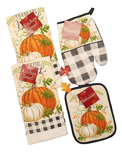 Black and White Buffalo Plaid Fall Kitchen Towel Set with White and Orange Pumpkins -Thankful and Blessed- Includes Towels, Pot Holder and Mitt with 2 Fall Leaf Picks- Bundle of 6