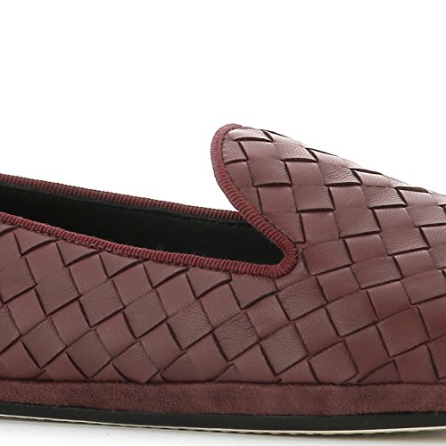 Bottega 407408V00132240 Burgundy Veneta Leather Loafers Women's r0ArqS