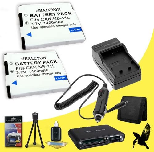 Multi Card USB Reader Deluxe Starter Kit for Canon PowerShot ELPH 340 HS Digital Camera and Canon NB-11L Memory Card Wallet Two Halcyon 1400 mAH Lithium Ion Replacement NB-11L Battery and Charger Kit