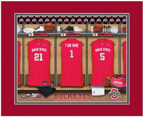 NCAA Locker Room Print Ohio State Buckeyes Basketball Personalized Framed (Ohio State Framed Basketball)