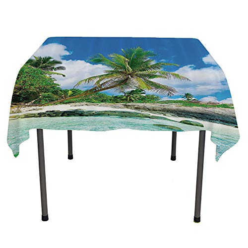 Seaside Decor Collection, Table ClothsScene Rocks Palms Shades Jungle Honeymoon Islands Remote Resort Leisure, for Outdoor and Indoor Use, 60x60 Inch Teal Green Blue
