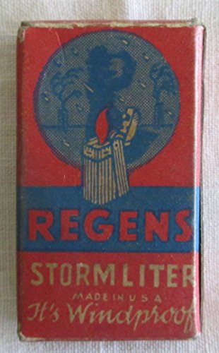 ANTIQUE REGENS STORMLITER BOX - REGENS LIGHTERS WERE MADE IN BEAUTIFUL AND ENAMEL FINISHES (NO CONTENTS IN THE OBS - GREAT ITEM TO DISPLAY FOR TOBACCO) FREE ()