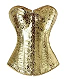 frawirshau Faux Leater Corset for Women Lace Up Boned Corset Burlesque Clubwear Showgirl Dress Top Gold L