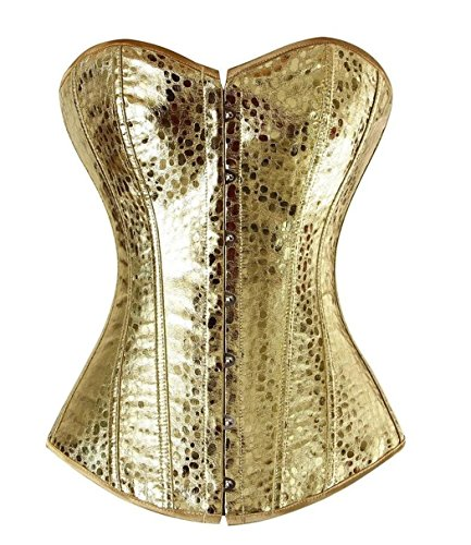 Gold Showgirl Costume (frawirshau Faux Leather Lace Up Boned Corset Bustier Burlesque Clubwear Showgirl Costume Gold S)