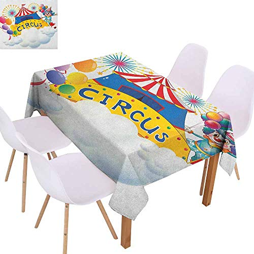 Fabric Dust-Proof Table Cover Circus Illustration of a Circus Above The Clouds Fireworks Entertainer Comedian Show Print Table Decoration W70 xL84 Multicolor