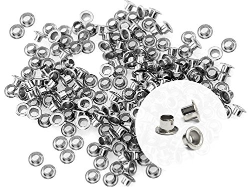 CRAFTMEmore 3MM Hole 200PCS Tiny Grommets Eyelets Self Backing for Bead Cores, Clothes, Leather, Canvas (Silver) (A-dile Kit Crop Punch)
