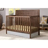 Delta Children 4 in 1 Convertible Nursery Crib with Strong and Sturdy Built, Converts into Toddler Bed, Daybed and Full Size Bed, Rustic Oak