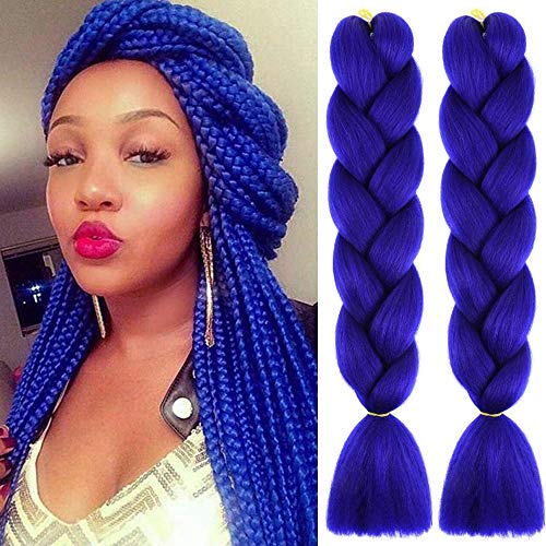 MSCHARM 5Pcs 100g/Pcs Synthetic Braiding Hair Extensions 24 Inch Box Crochet Braids Blue Jumbo Braiding Hair Extensions for Daily Life or Party Use(Royal Blue)