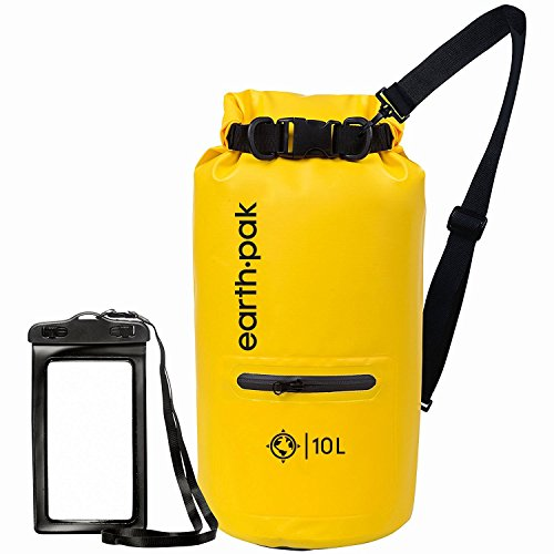 20l Dry Bag (Earth Pak- Waterproof Dry Bag with Front Zippered Pocket Keeps Gear Dry for Kayaking, Beach, Rafting, Boating, Hiking, Camping and Fishing with Waterproof Phone Case)