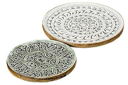 Home Collection Juego de 2 Bajo Platos Decorativos Bandeja Decorativa Madera Mango Verde D 30-