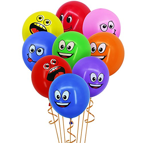 Sepco Latex Smiley Face Balloons 100 Pack Assorted Colors 12