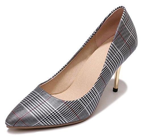 Heel Houndstooth High Pump (Aisun Women's Pointy Toe Pumps - Checkered Stilettos Shoes Party - Low Cut Slip On High Heel (Black, 7.5 B(M) US))