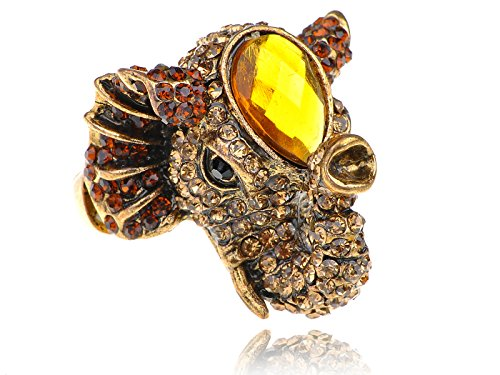 Alilang Womens Stretchy Golden Tone Topaz Colored Rhinestones Indian Elephant Head Ring