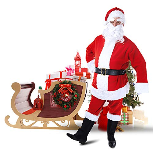 WOWMAR Christmas Costumes Mens Santa Suit Super Soft Velvet Fleece Adult Santa Claus for Party Cosplay -