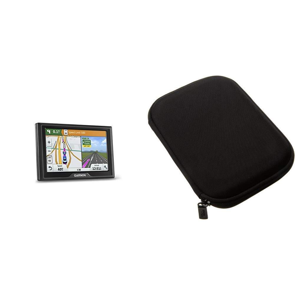 Garmin 010-N1532-0C Drive 50LM 50 GPS Navigator, 5'', (Certified Refurbished) & AmazonBasics Hard Carrying Case for 5-Inch GPS - Black