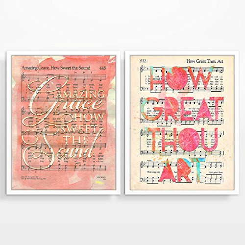 Hymnal Christian ART PRINTS Set of Two, UNFRAMED, Amazing Grace, How Great Thou Art wall decor poster, 8x10 inches