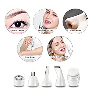Ladies Electric Razor for Face Women Shaver Hair Removal Facial Epilators Flawless Legs Body Hair Remover Bikini Trimmer for Eyebrow Nose Armpit Fairycity 5 in 1 USB Groomer