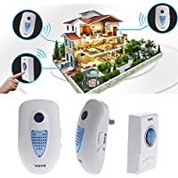 LIYUDL Wireless Doorbell Kit,Operating at 80m, LED Indicator, 2 Plug-In Receiver & 1 Push Button Transmitter