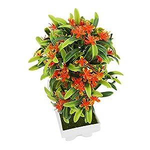 GLOGLOW Artificial Bonsai Flower Pot Fake Silk Flower Tree Plant for Wedding Holiday Home Decor 4