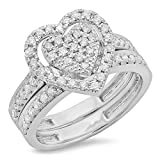 0.40 Carat (ctw) Sterling Silver Round Diamond Heart Shaped Bridal Engagement Ring Set (Size 7)
