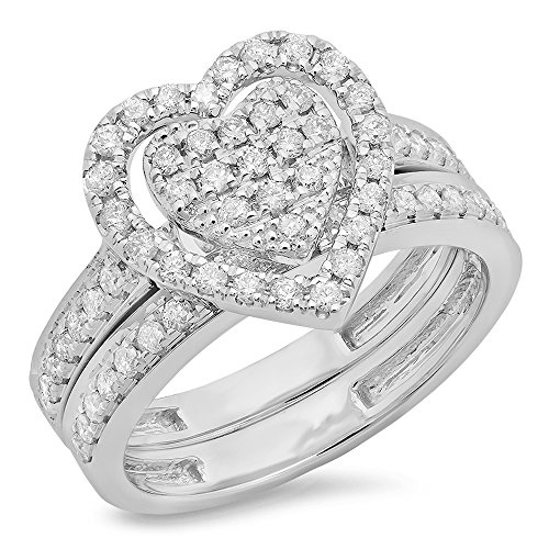 Dazzlingrock Collection 0.40 Carat (ctw) Sterling Silver Round Diamond Heart Shaped Bridal Engagement Ring Set, Size 7 -