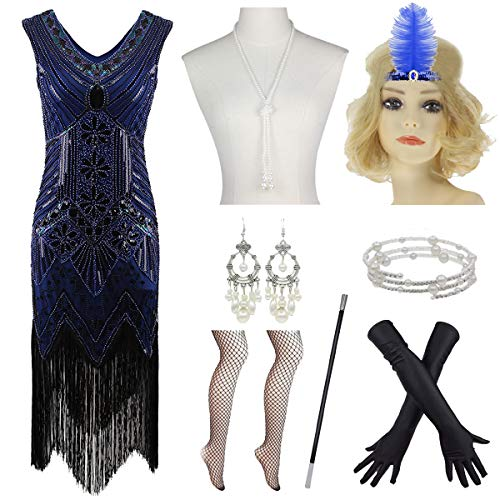 1920s V Neck Fringed Gatsby Flapper Dress for Prom W/ 20s Headband Accessories (M, Blue)