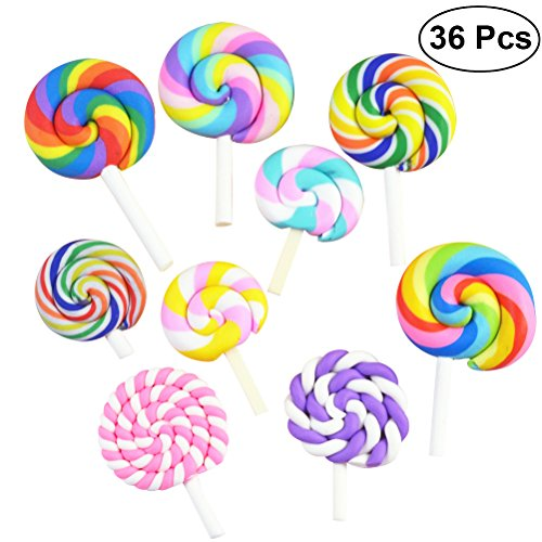 ULTNICE 36Pcs lollipop Prop Clay Candy Embellishment Rainbow Swirl Lollipop Lolly Random]()