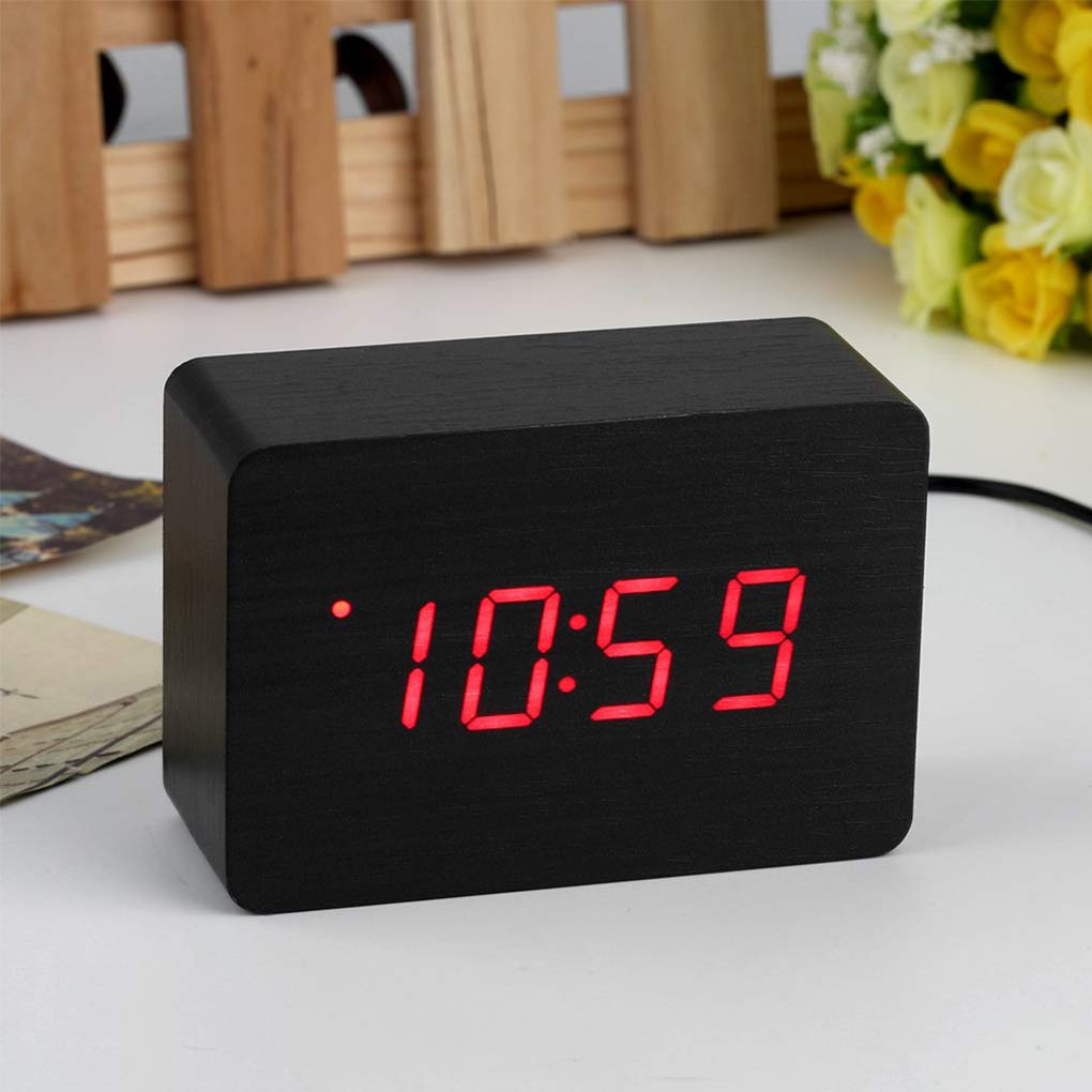 Alarm Clocks - Mini Modern Red Led Display Temperature Digital Wood Wooden Alarm Clock Table Desk Remainder Bell - The Aromatherapy Style Non Compatible Play Date Old Wake Sound
