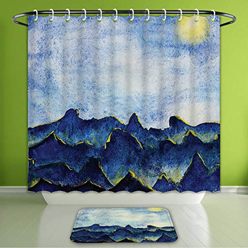 (Waterproof Shower Curtain and Bath Rug Set Apartment Decor Hills Under Fairy Cloudy Sky with The Reflection of Moon Light Vivid Landscape Bath Curtain and Doormat Suit for Bathroom 60