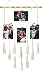 Afuly Macrame Wall Hanging Pretty Cute Photo Display Cotton Rope Multiple Collage Picture Frame 17 x 26 Inch Boho Chic Home Dorm Room Unique Decor Gifts