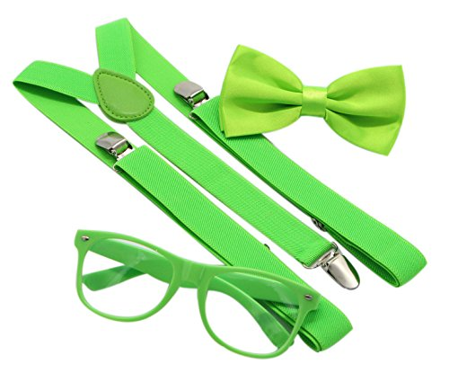 JAIFEI Hipster Nerd Outfit | Whimsical Sunglasses + Adjustable Suspenders + Bowtie Set | For Costume Parties & Hip Events (Lemon - Costumes Nerd