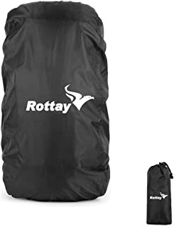 Waterproof Backpack Cover, Rottay Backpack Rain Cover for Hiking/Camping/Climbing/Cycling (L, Black)