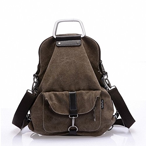 Casual Women Backpack Female Canvas Backpack College Student School Bags for Teenagers Vintage Shoulder Bag Travel Daypack Coffee by BBBaq