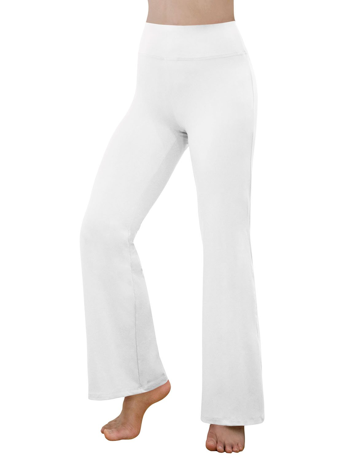 REETOYO Women's Power Flex Tummy Control Workout Yoga Boot Cut Flares Pants Hidden Pocket, White, X-Large