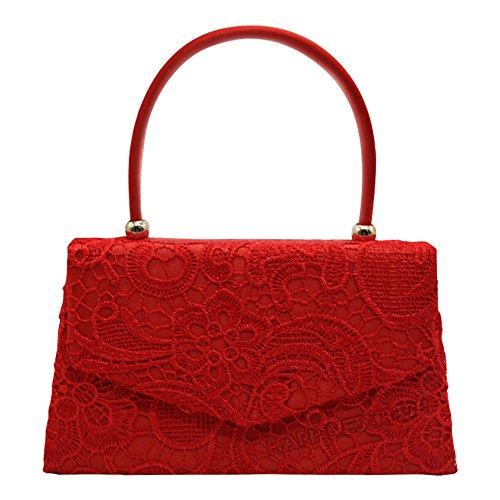 Wocharm Fashion Girly HandBags Lace Satin Top Handle Clutch Bag Handbag Vintage Designer Womens Wedding Party Clutch Bag Evening Prom Handbag Red