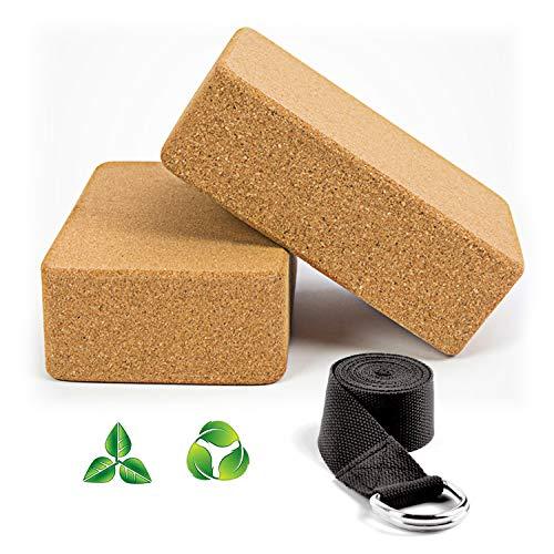 🥇 WayEee Bloques de Yoga Corcho Natural 2 Piezas Ecológico de Alta Densidad Centímetros Ladrillo Yoga Block Cork para Pilates y Ejercicios de Yoga.